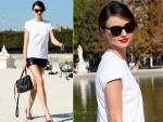 Sidewalk Style: Miranda Kerr's Leather Shorts & Miu Miu Bag
