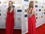 Jessica Chastain Wearing Prada Red Dress in Critics Choice Awards 2013