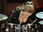 Bar Refaeli performs on the drums… and her bra's the support act