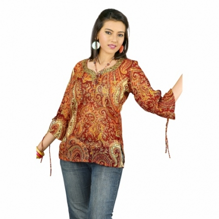 Natural touch paisley design embroidered kurt