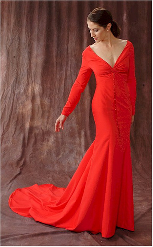 Romantic red special occasion dresses 2012