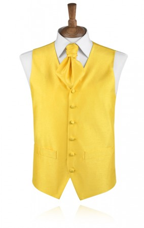 Aurora Yellow Poly Dupion Waistcoat