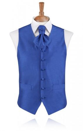 Azure Blue Poly Dupion Waistcoat