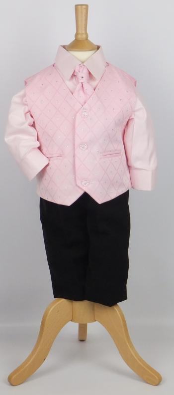 Baby Boys Pink 4 Piece Waistcoat Set Suit with Black Trousers