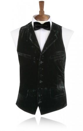 Black Silk Velvet Waistcoat