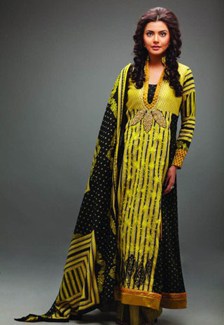 Black Yellow Cotton Lawn collection casual dress