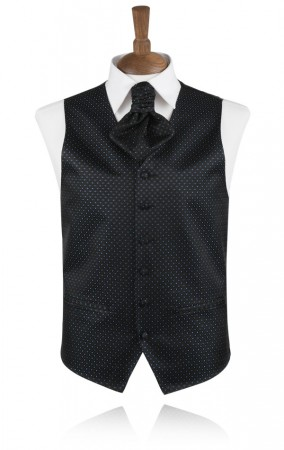 Black with Blue Glitter Dots Waistcoat