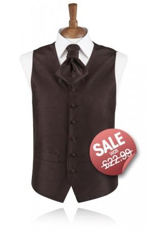Chocolate Brown Poly Dupion Waistcoat