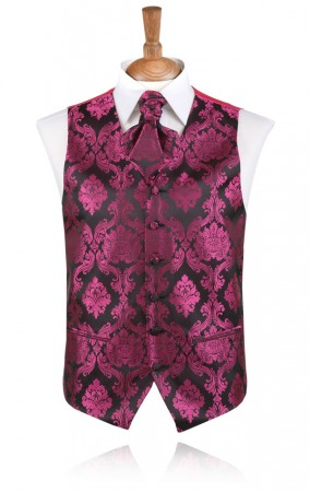Fuchsia Victorian Polyester Jacquard Waistcoat