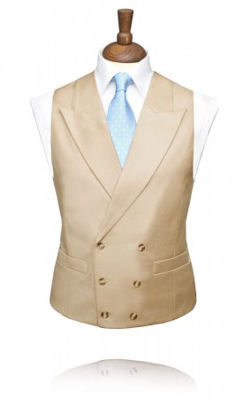 Gold Buff Traditional Double Breasted Morning Suit Waistcoat
