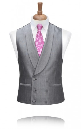 Grey Double Breasted Morning Suit Waistcoat