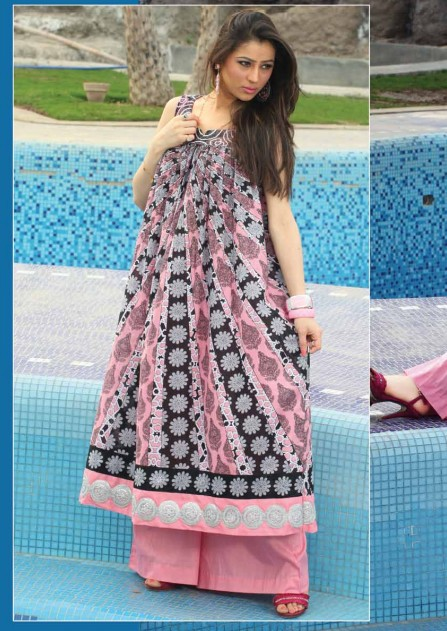 Pink Black Cotton Lawn collection casual dress
