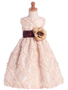 Pink Taffeta Ribbon special occasion dresses for baby girls