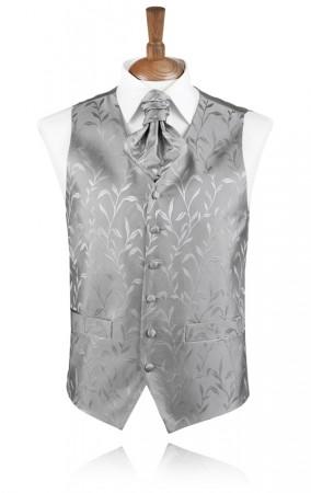 Silver Silk Leaf Waistcoat
