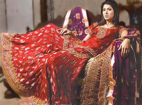 Deep Red & Purple gharara