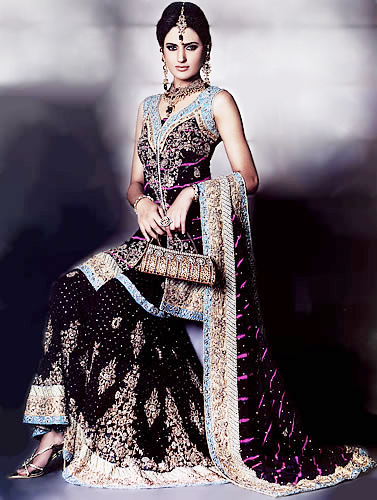 Black Sharara - Pakistani Bridal Dress 2010