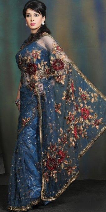 Blue Color Net Bridal Saree