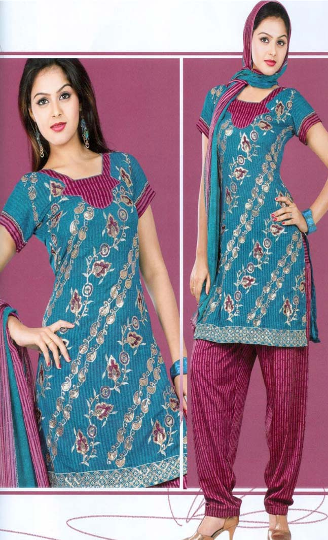 Casual Blue Color Design Cotton Salwar Kameez Dupatta