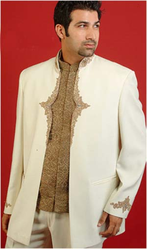 Embroidery on jacket, and waist coat.