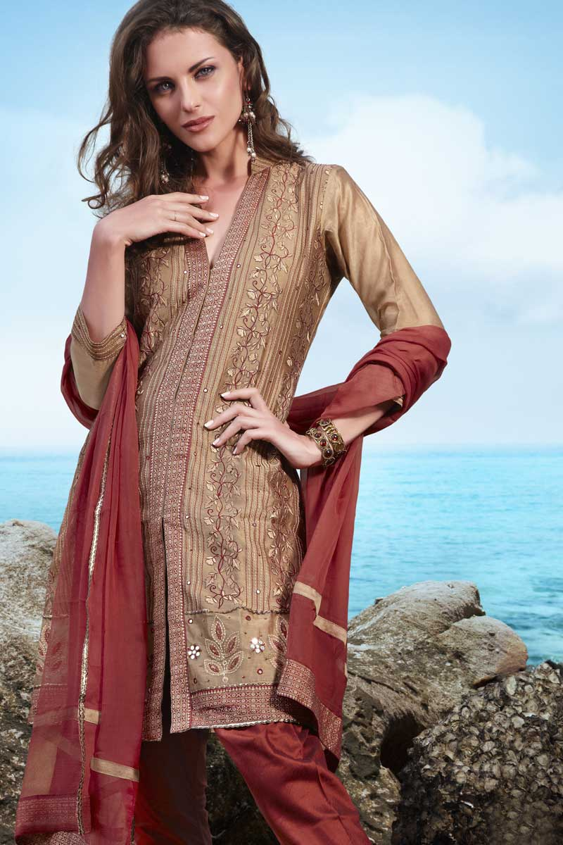 Brown and Rust Crepe Party Shalwar Kameez for Women
