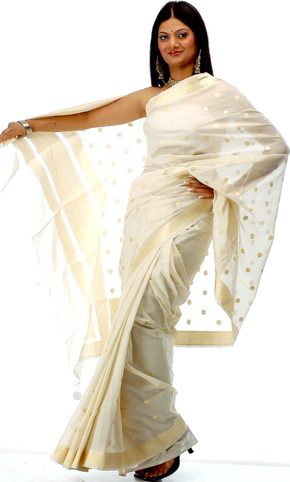 Ivory Banarasi Bridal Saree 2012 with Allover Golden