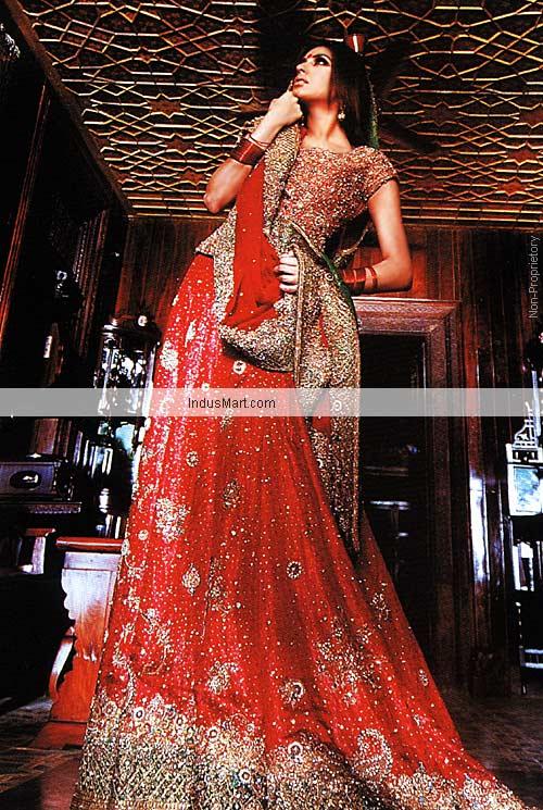 Latest 2012 Sharara - Red Color Charmeuse Silk Sharara