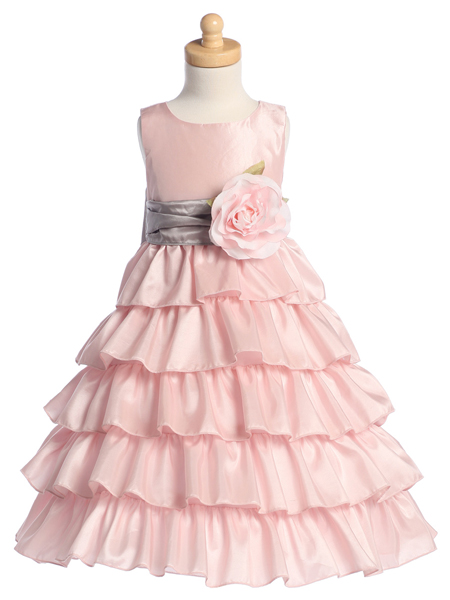 Pink taffeta layered skirt with silver detachable sash