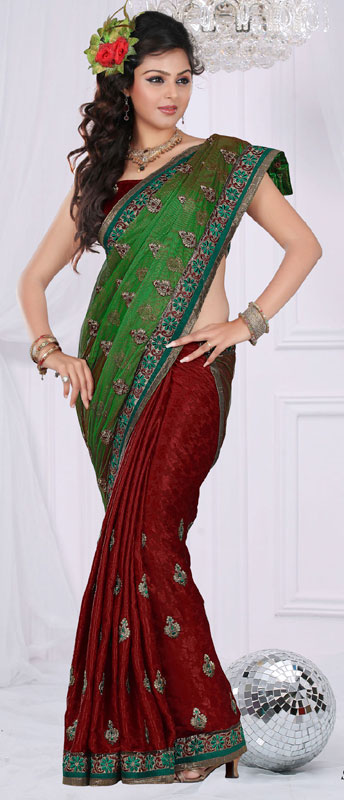 Red And Green Faux Georgette Bridal Saree
