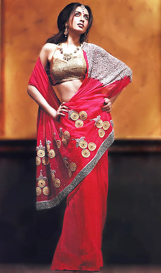 Red Saree Design 2012