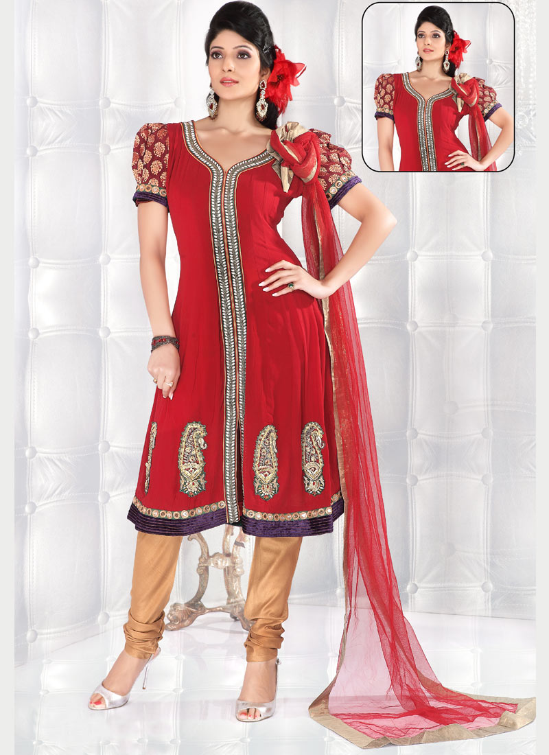 Sherwani Style Georgette Anarkali Churidar Suit