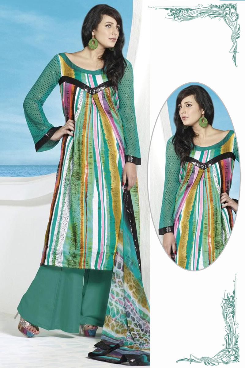 Teal Green Cotton Lawn collection casual dress