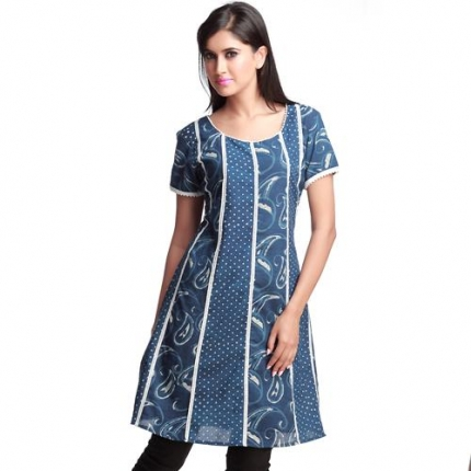 Trendy Indigo Print Cotton Kurta with Flairs Long Kurtis