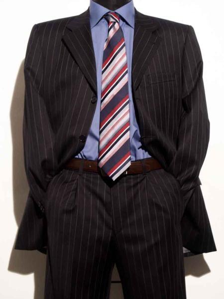 Vinici Mens Black Pinstripe Fashion Suits