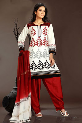 White red black salwar kameez