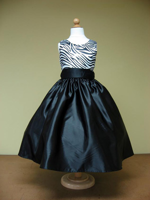 Zebra flower girl dress