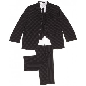 boys 5 piece black pinstripe suit