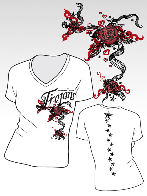paradise roses shirt designs for girls