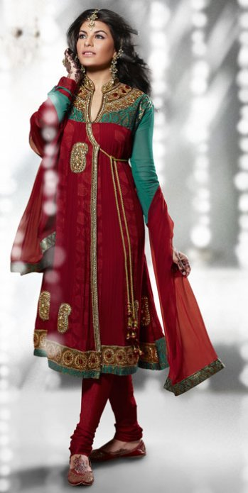 red grakha style churidar kameez with dupatta designer