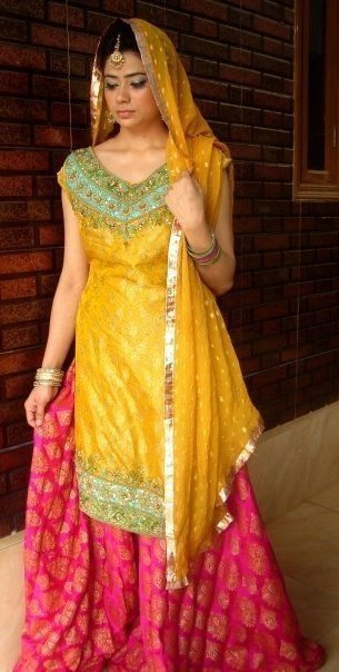 shoking pink yellow sharara 4 mendi