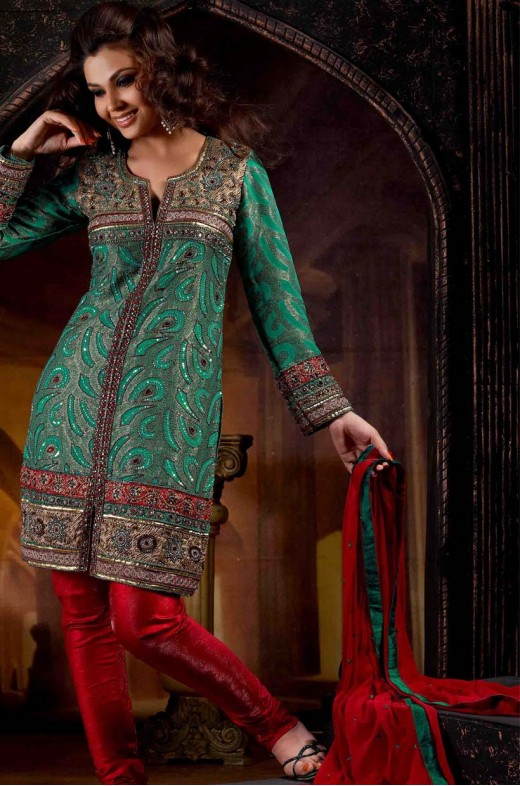 swaroop red and teal green cotton unstitched salwar kameez