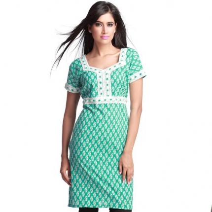 green cotton kurta with pilecut embroidery designer salwar kameez
