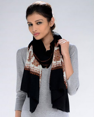 Black Shawl with Embroidered White Ends