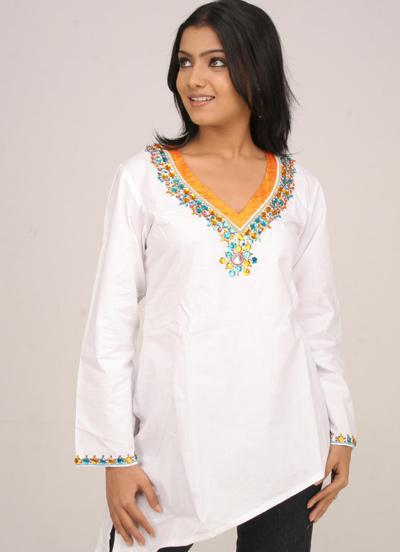 Collarless Casual Kurti Design