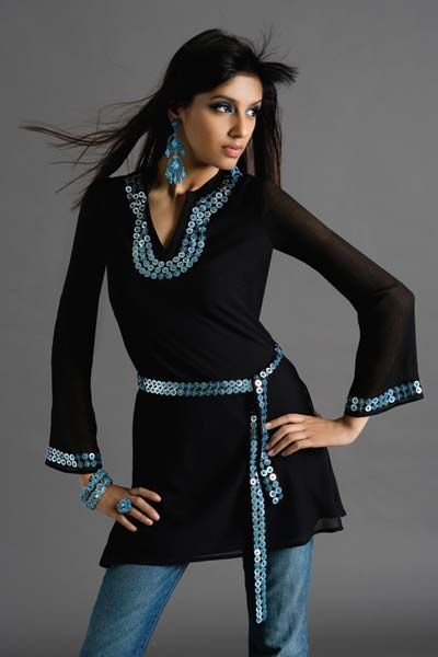 latest black kurta design