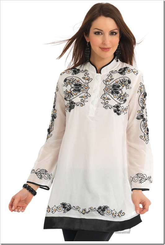 white kurta with black thread embroidery