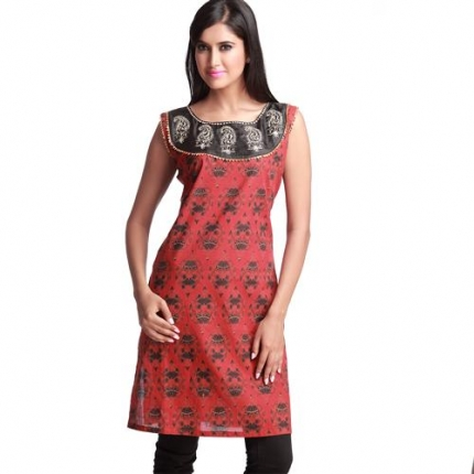 Smashing red block print kurta with pitta work long kurtis indian saree designs