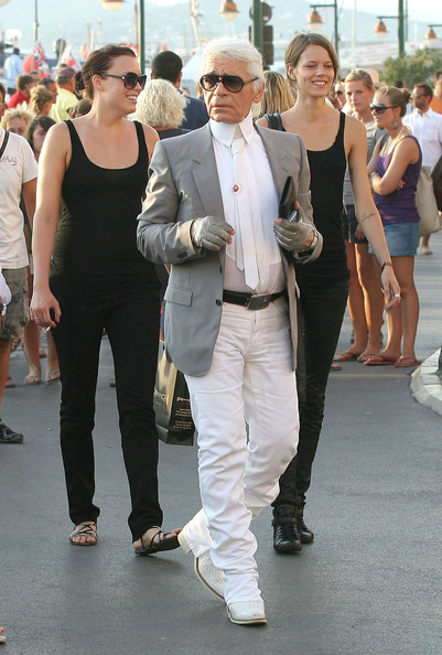 Karl Lagerfeld Out In Saint Tropez