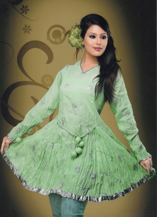 pista green fancy kurti