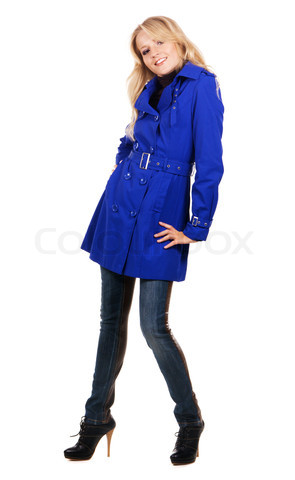 Pretty woman in blue coat
