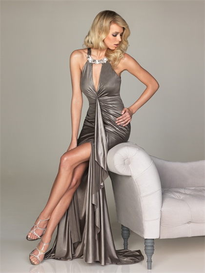 Allure gray beaded sexy deep V neck long evening dresses 2012